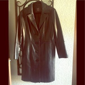 Lamb skin 3/4 length leather coat